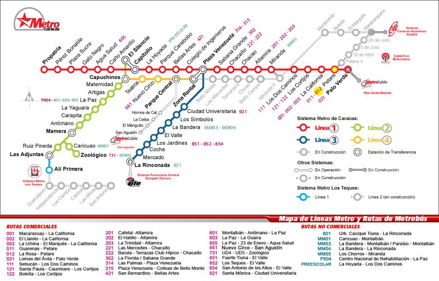 Mapa  Metro de Caracas