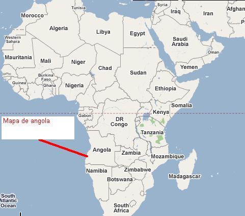 Mapa de Angola en Africa