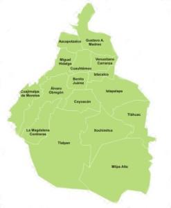 Mapa de Delegaciones de Mexico DF