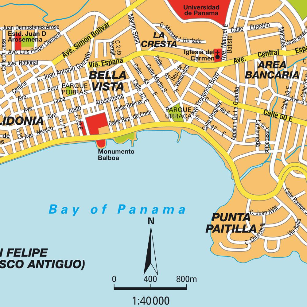 Panama City map. This map shows tourist attractions in Panama.