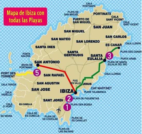 Mapa de Ibiza con playas y atracciones turísticas