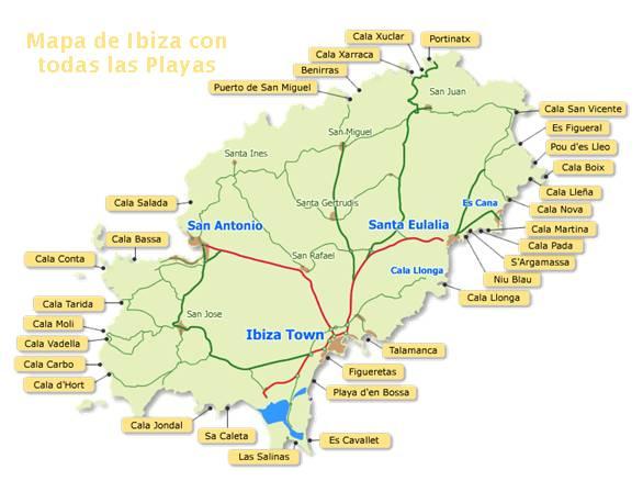 Mapa de Playas de Ibiza