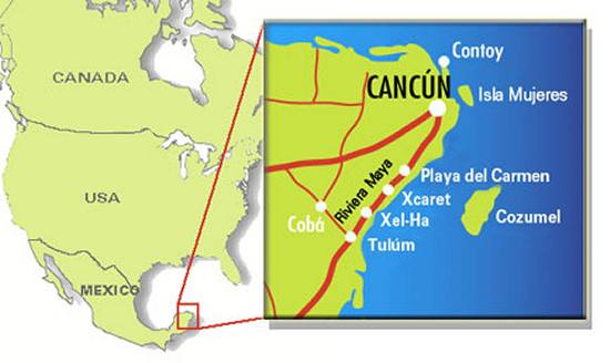 Mapa de Cancun y La Riviera Maya