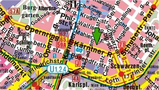 Mapa de Viena con atractivos turísticos, que visitar
