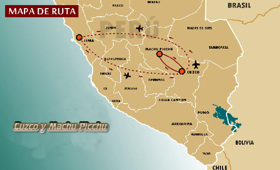 Mapa de Cuzco y Machu Picchu