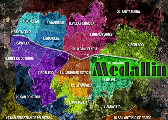 Mapa de Medellín con nombres de Calles, Avenidas y Carreras