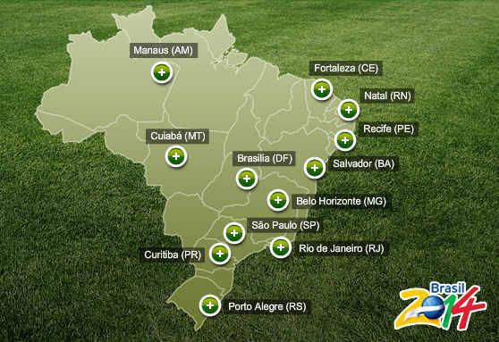 Mapa de sedes del Mundial de Futbol-2014