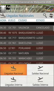 Aeropuerto de Maiquetia salidas llegadas