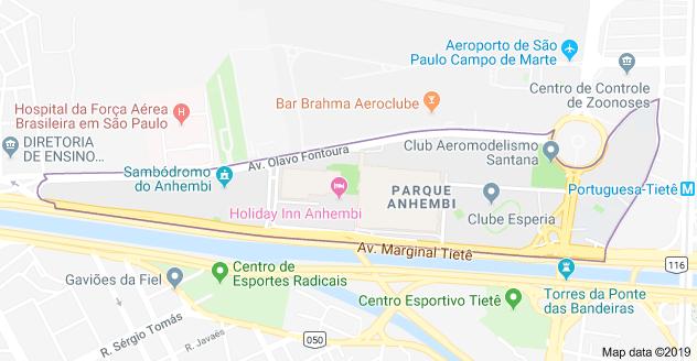 Mapa Anhembi Parque Sao Paolo.