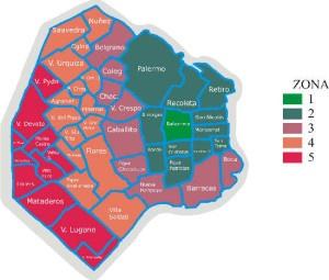 Mapa de Buenos Aires por zonas