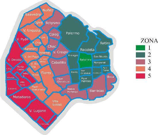 Mapa de Buenos Aires Capital con zonas Turísticas
