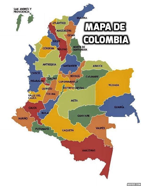 Karte von Kolumbien von Abteilungen