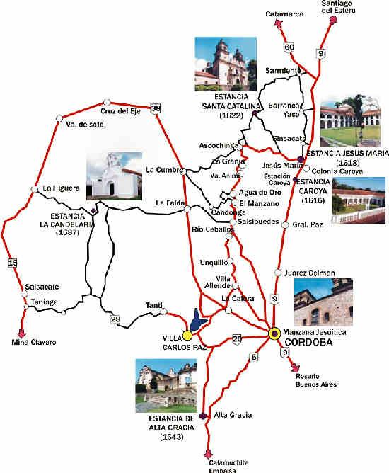 Mapa de rutas y localidades de la Provincia de Córdoba