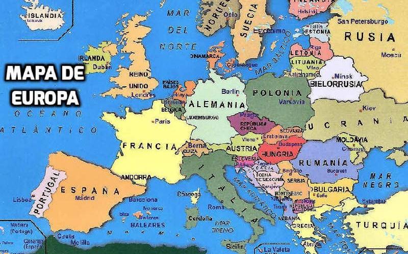 Mapa de Europa en Español con Países y Capitales