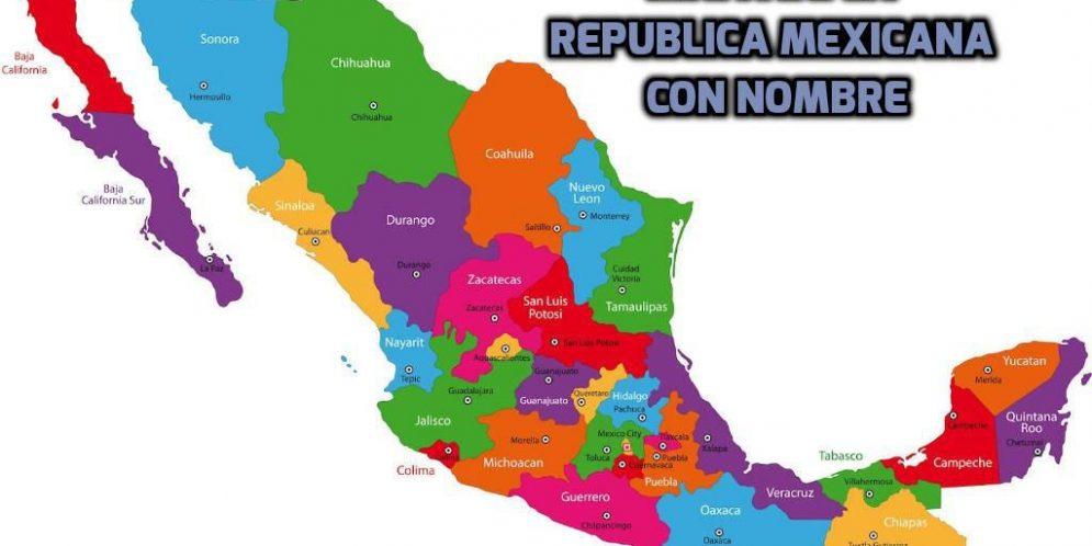 Estados De Mexico Mapa.Mapas De Mexico Con Nombres De Ciudades Estados Y Capitales