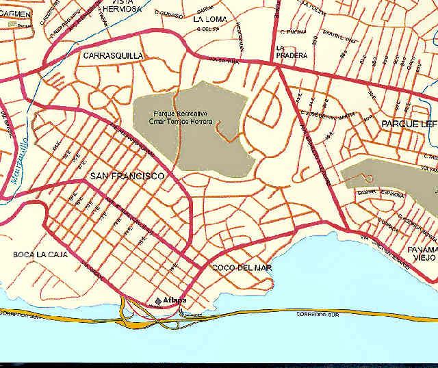 Mapa Panama – Ciudad de Panama