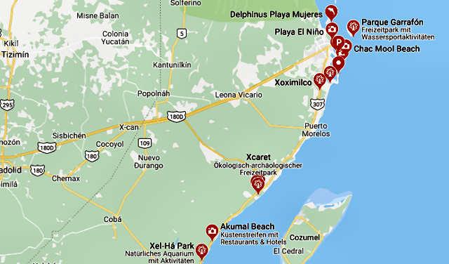 Mapa de riviera maya con playas
