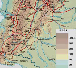 Kolumbien Karte der Routen