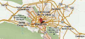 Mapa de Monterrey, área metropolitana, con sitios de interés.