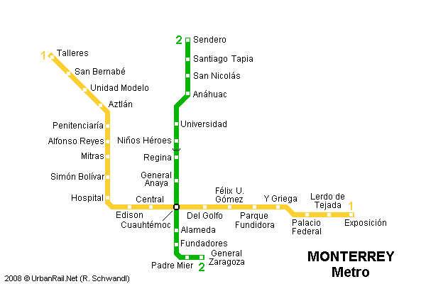 Mapa del Metro de Monterrey