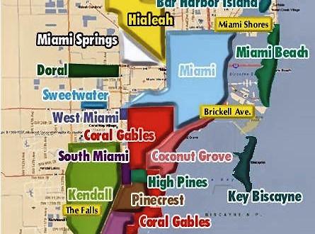 Mapa de Miami con todos sus barrios