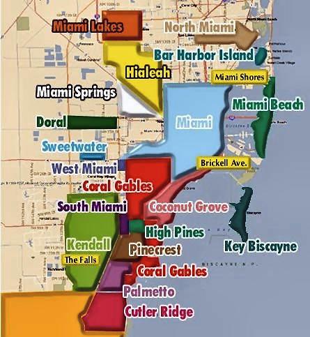 Mapa de Miami y sus distintas zonas