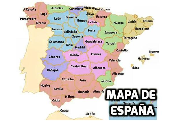 Mapa De España Provincias Y Comunidades.Mapa De Espana Por Provincias Para Viajar Para Unas