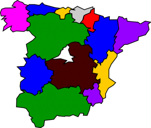 Karte der Regionen Spaniens