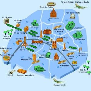 Mapa de Zonas de Hoteles en Paris